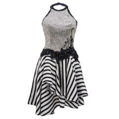 Fabrice 1980s Beaded Monochrome Halter Dress
