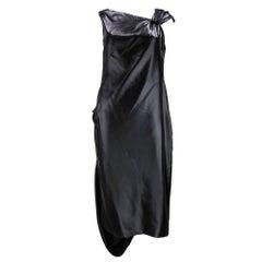 Givenchy 2000s Silky Black Asymmetrical Party Dress