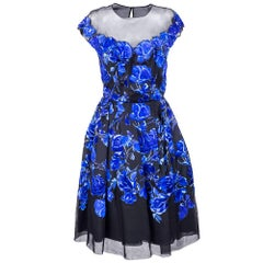 1950s Sherard Blue Floral Couture Cocktail Dress