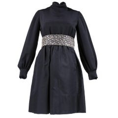 60s Hannah Troy Black Empire Waisted Rhinestone Embellished Cocktail Dress