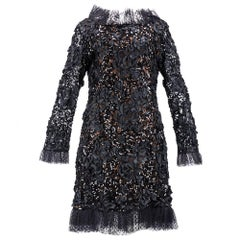 Yves Saint Laurent Black Ribbon & Sequin Party Dress