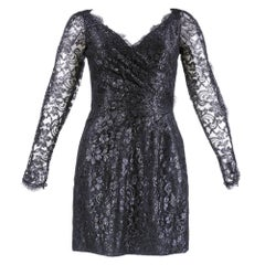 1980s Azzaro Black Metallic Lace Cocktail Dress