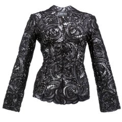 90s Giorgio Armani Black Shirred Tulle Jacket with Sequins