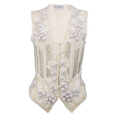90s Eavis and Brown White Chiffon Heavily Embellished Vest