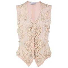 90s Eavis and Brown Pink Chiffon Heavily Embellished Vest