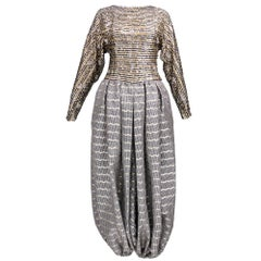 80s Galanos Metallic Sequin and Striped Harem Evening Pant Jumpsuit
