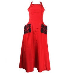 1990s Christian Lacroix Strawberry Red and Black Lace Pinafore Gown