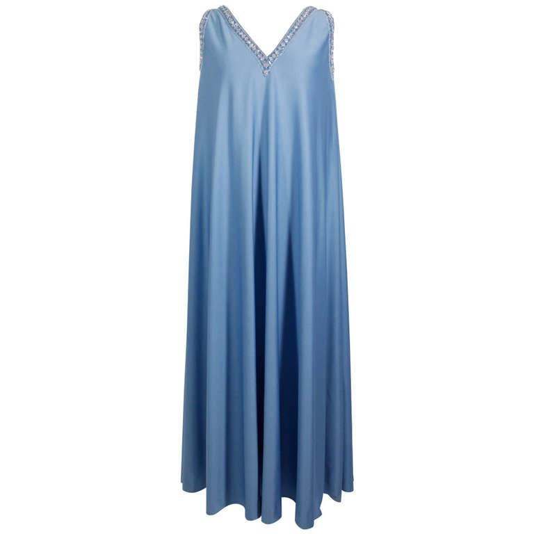 Pedro Rodriguez 1960s Gown with Crystal Detail and Cape For Sale
