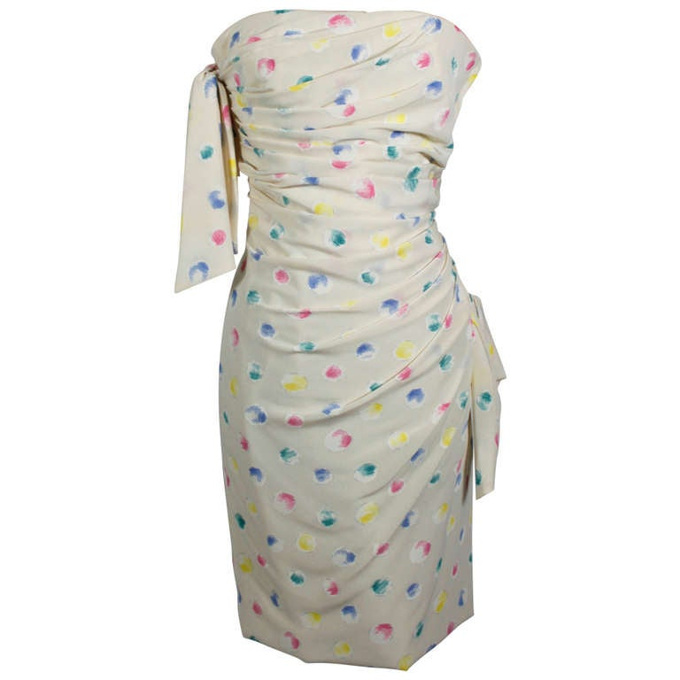 1980s Ungaro Silk Party Dress with Pastel Airbrush Print 1