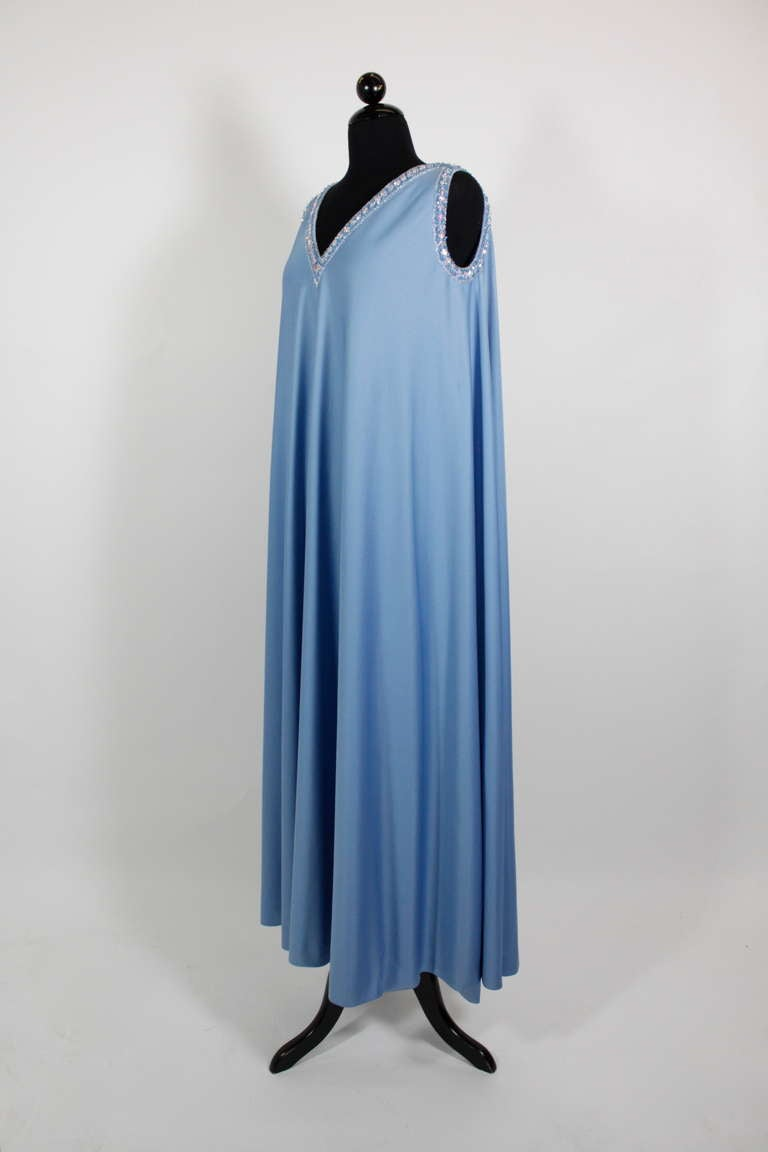 Blue Pedro Rodriguez 1960s Gown with Crystal Detail and Cape For Sale
