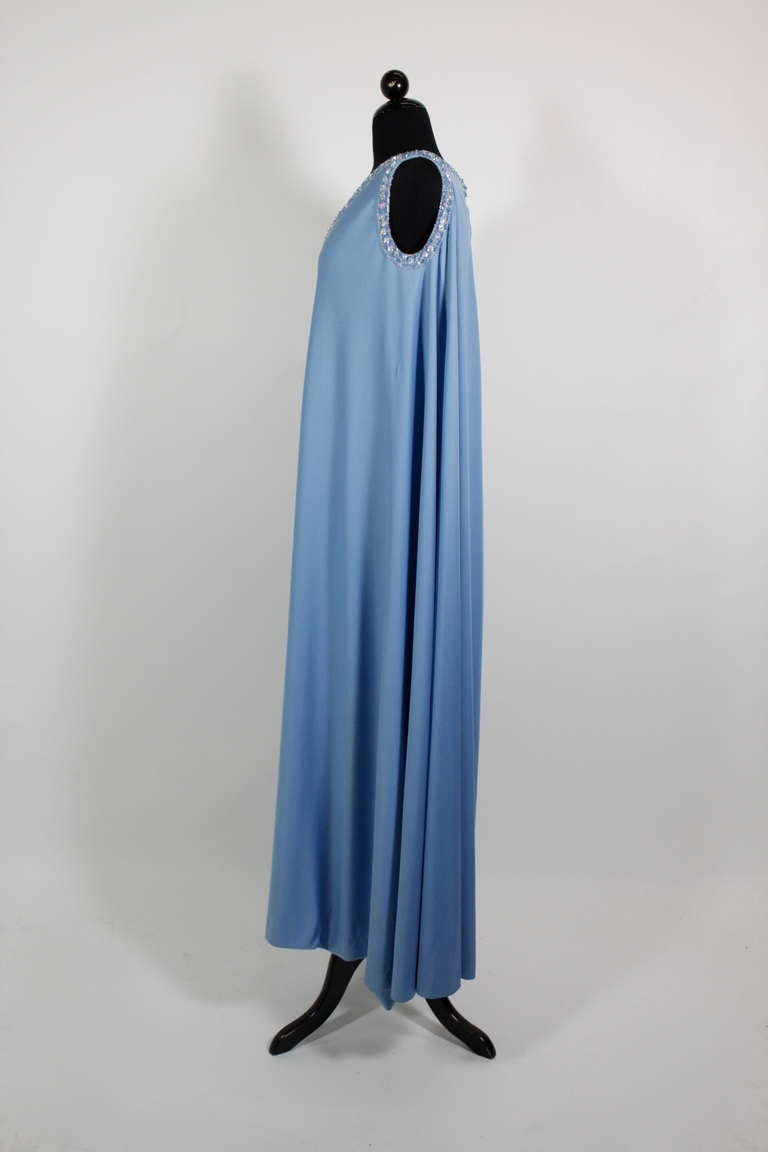 Women's Pedro Rodriguez 1960s Gown with Crystal Detail and Cape For Sale