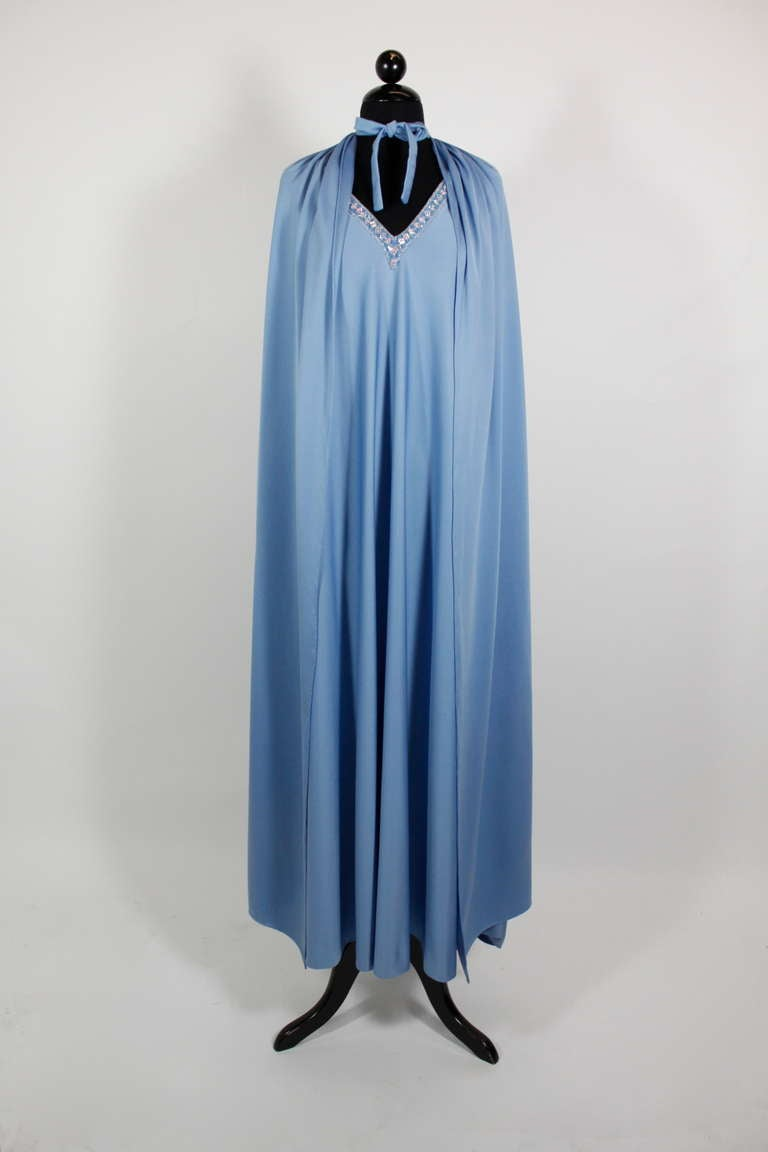 Pedro Rodriguez 1960s Gown with Crystal Detail and Cape For Sale 4