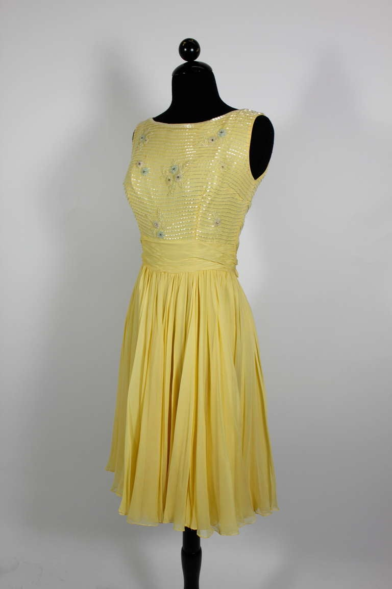 1960s Ceil Chapman Buttercream Yellow Chiffon Beaded