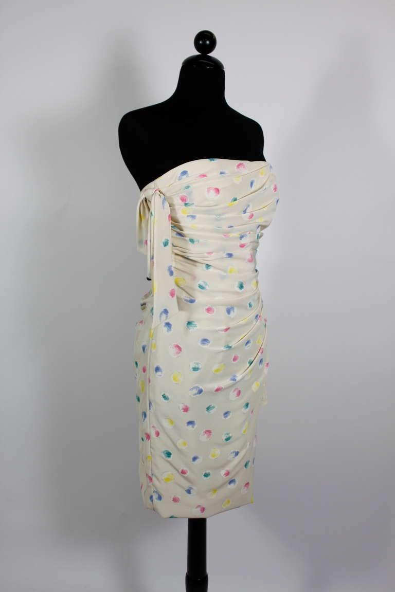 1980s Ungaro Silk Party Dress with Pastel Airbrush Print 2