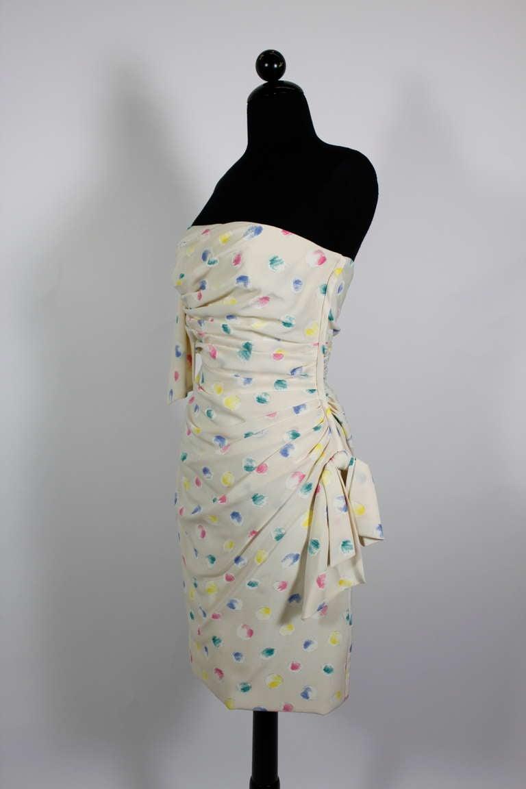 1980s Ungaro Silk Party Dress with Pastel Airbrush Print 3