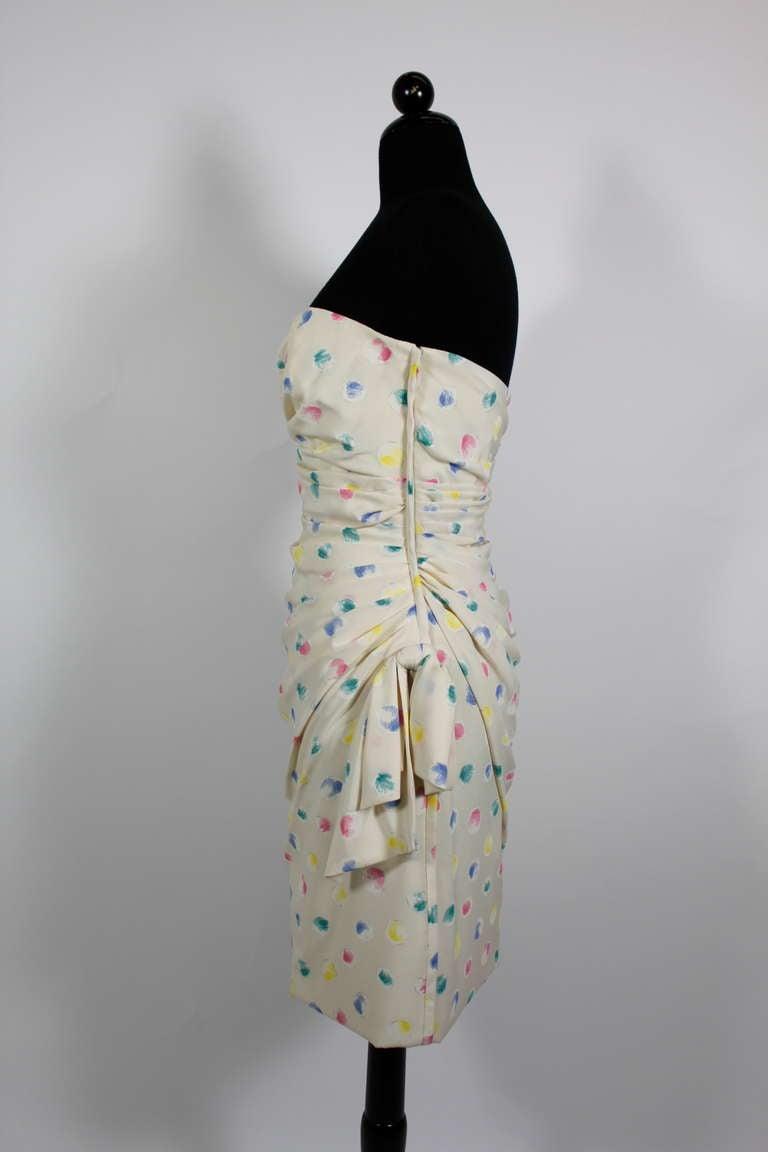 1980s Ungaro Silk Party Dress with Pastel Airbrush Print 6