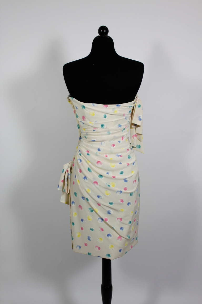 1980s Ungaro Silk Party Dress with Pastel Airbrush Print 7