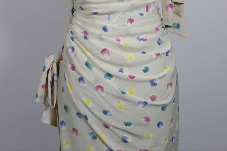 1980s Ungaro Silk Party Dress with Pastel Airbrush Print 8
