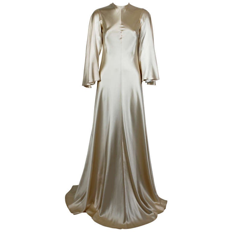 Lanvin 1970s Couture Ecru Silk Goddess Gown 1