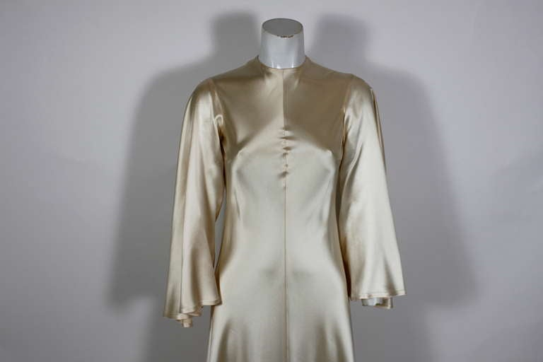 Lanvin 1970s Couture Ecru Silk Goddess Gown 2