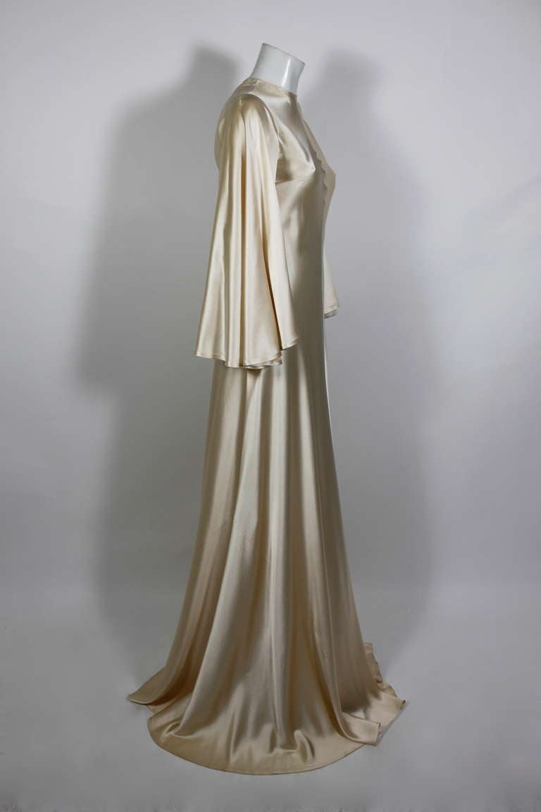 Lanvin 1970s Couture Ecru Silk Goddess Gown 3