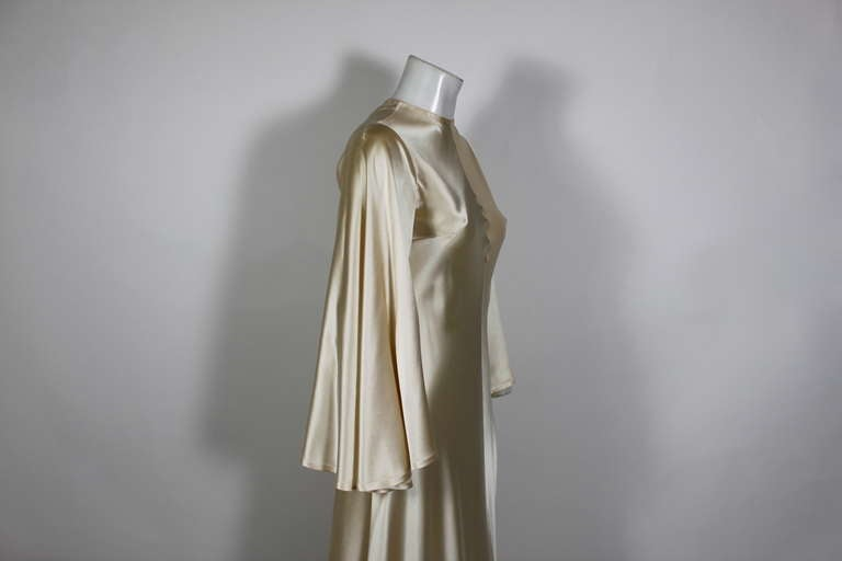 Lanvin 1970s Couture Ecru Silk Goddess Gown 4