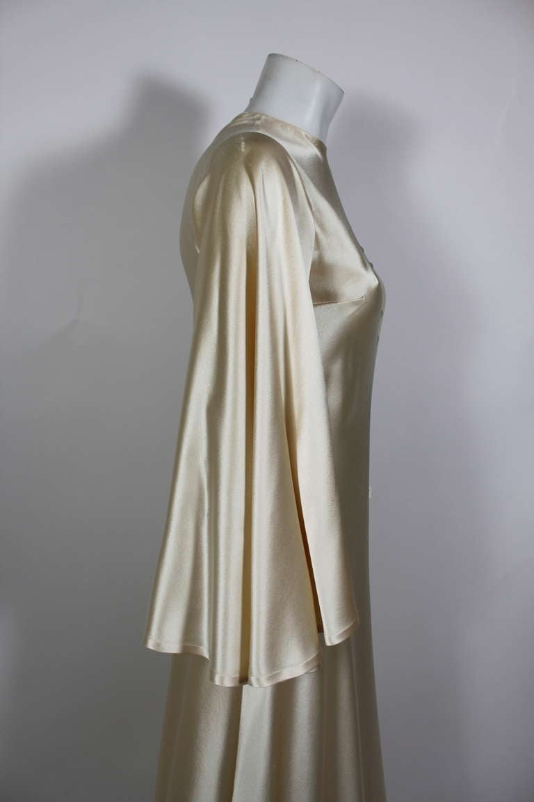 Lanvin 1970s Couture Ecru Silk Goddess Gown 5