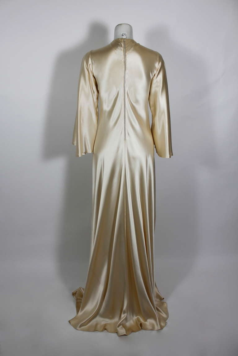 Lanvin 1970s Couture Ecru Silk Goddess Gown 6