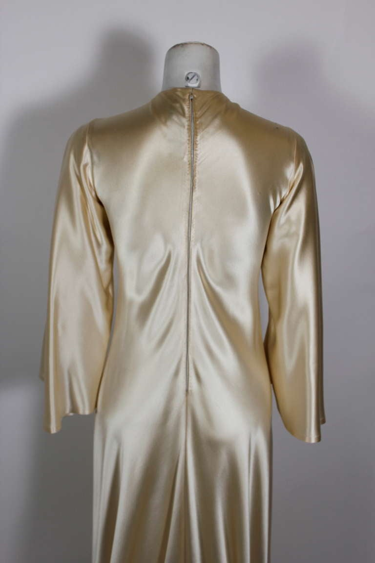 Lanvin 1970s Couture Ecru Silk Goddess Gown 7