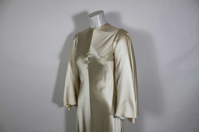 Lanvin 1970s Couture Ecru Silk Goddess Gown 8