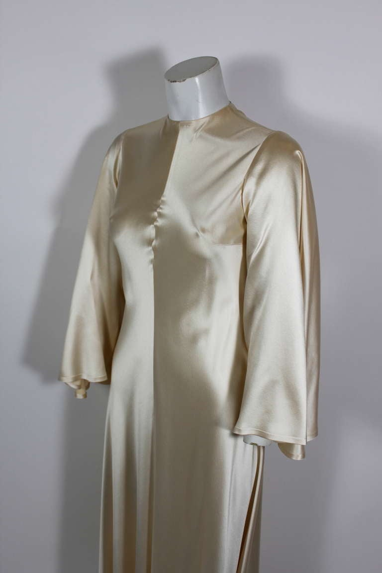 Lanvin 1970s Couture Ecru Silk Goddess Gown 9