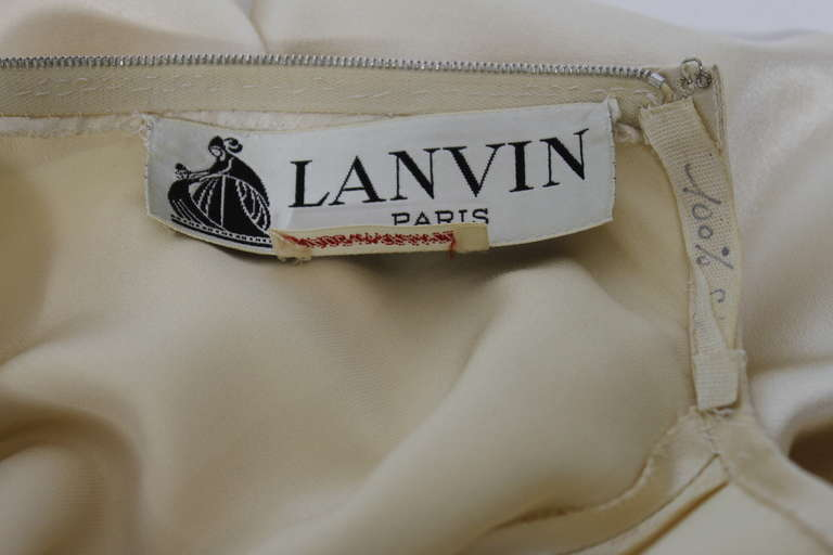Lanvin 1970s Couture Ecru Silk Goddess Gown 10