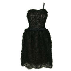 Christian Dior 1960s Black Tulle Soutache Cocktail Dress with Shawl