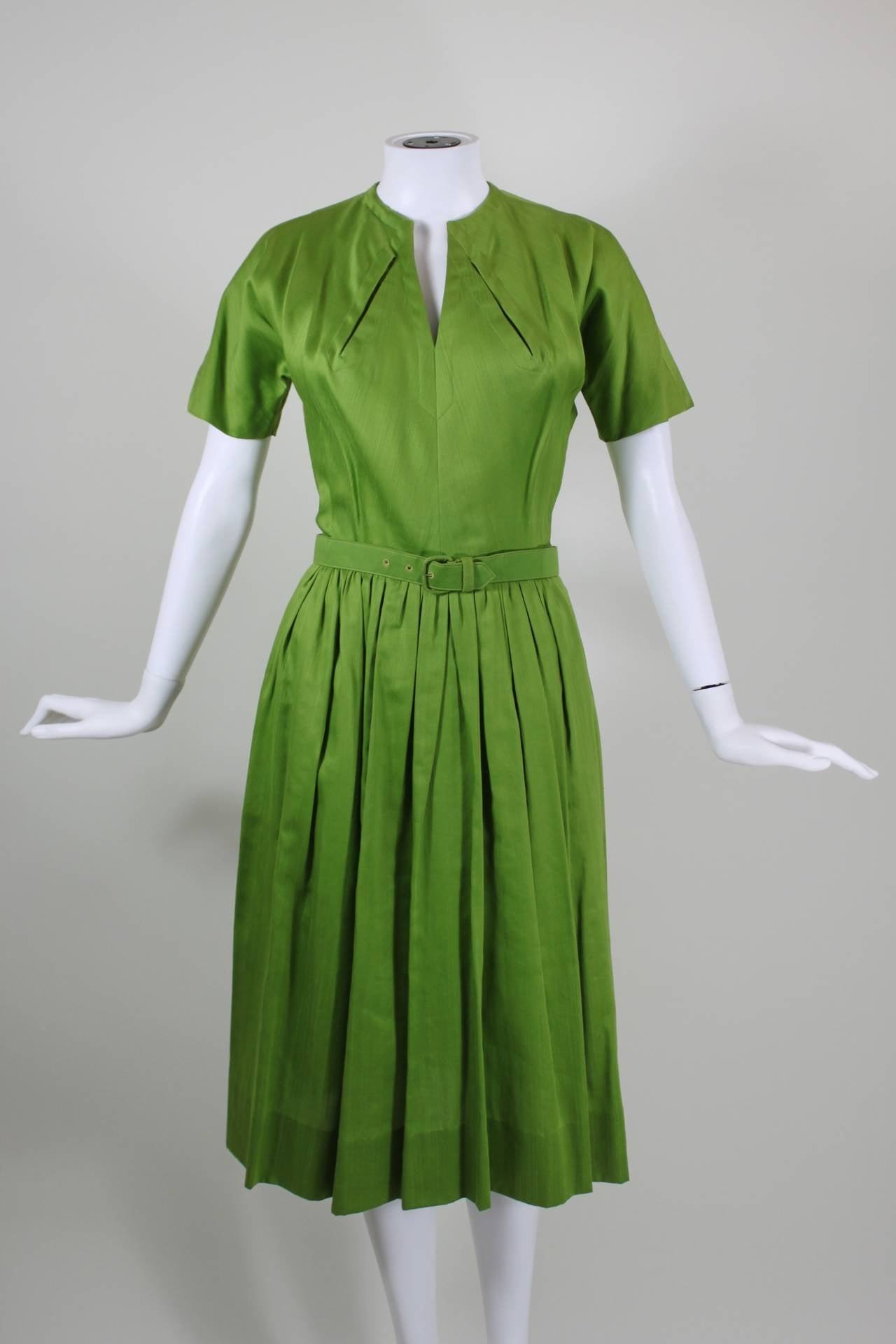 1950s Claire McCardell Lime Green Day Dress with Belt 2