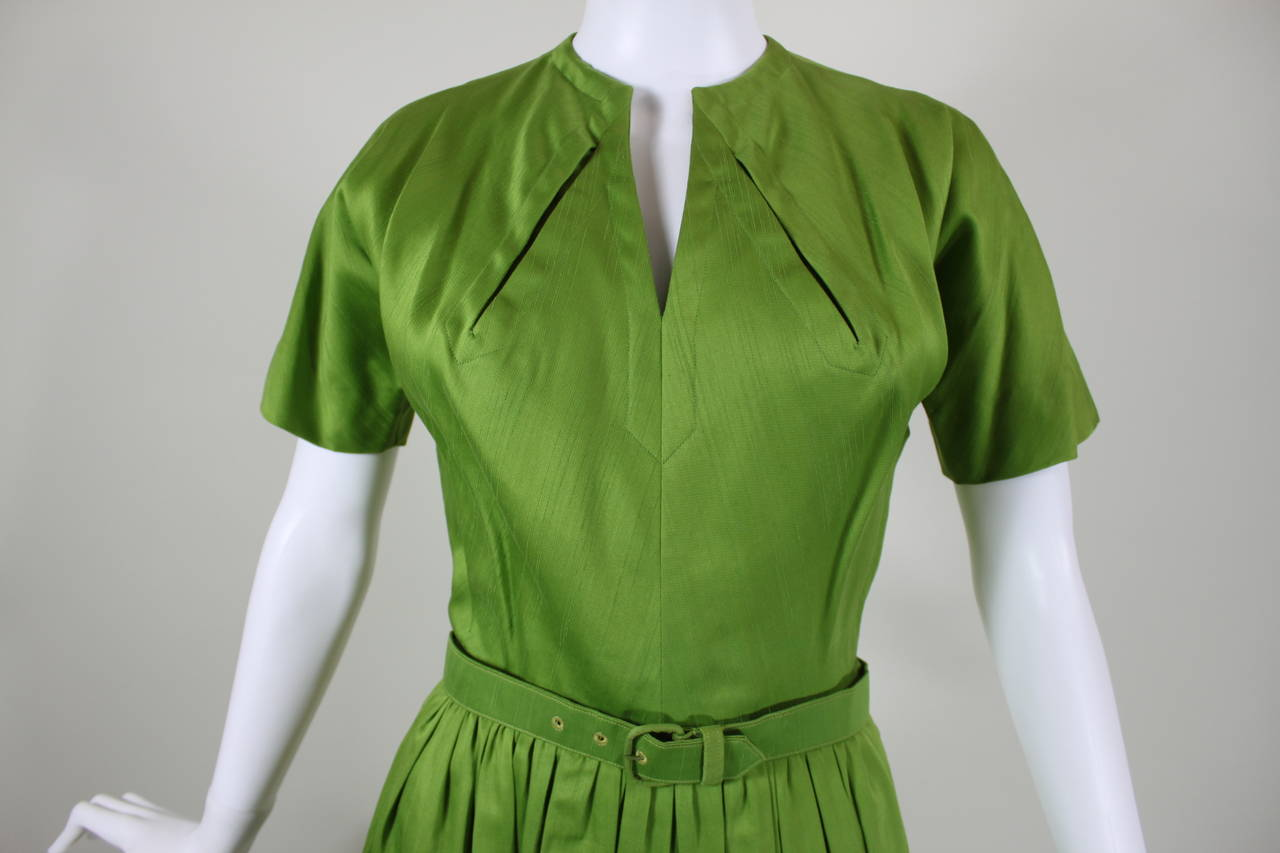 1950s Claire McCardell Lime Green Day Dress with Belt 3