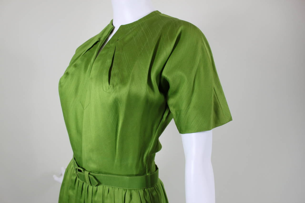 1950s Claire McCardell Lime Green Day Dress with Belt 6