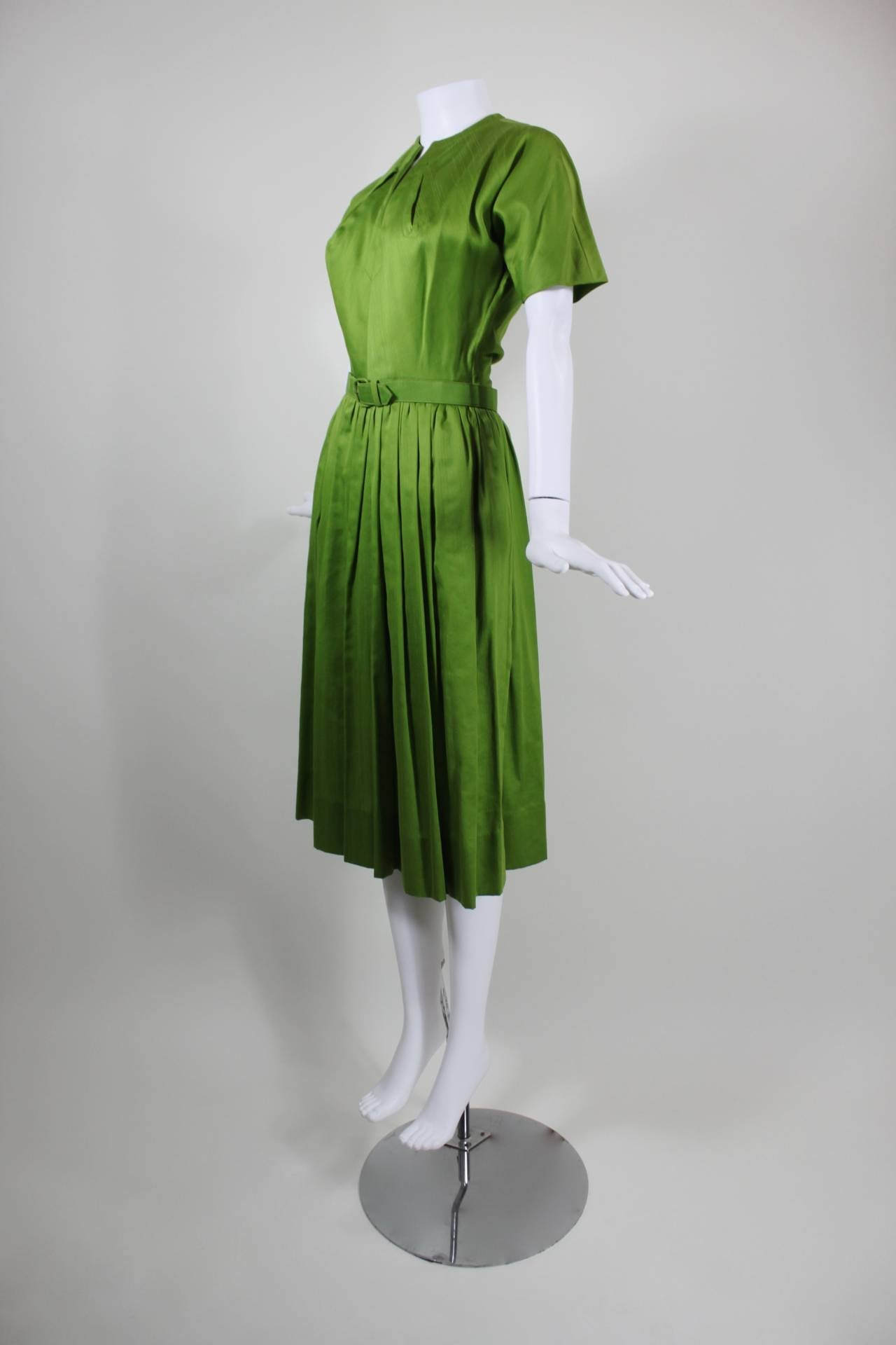 1950s Claire McCardell Lime Green Day Dress with Belt 5