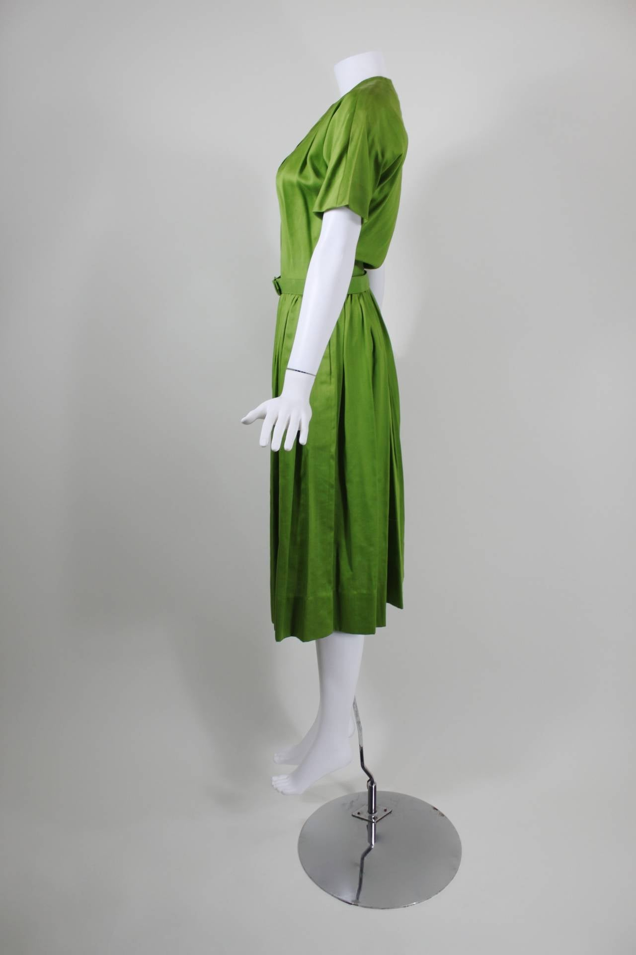 1950s Claire McCardell Lime Green Day Dress with Belt 9