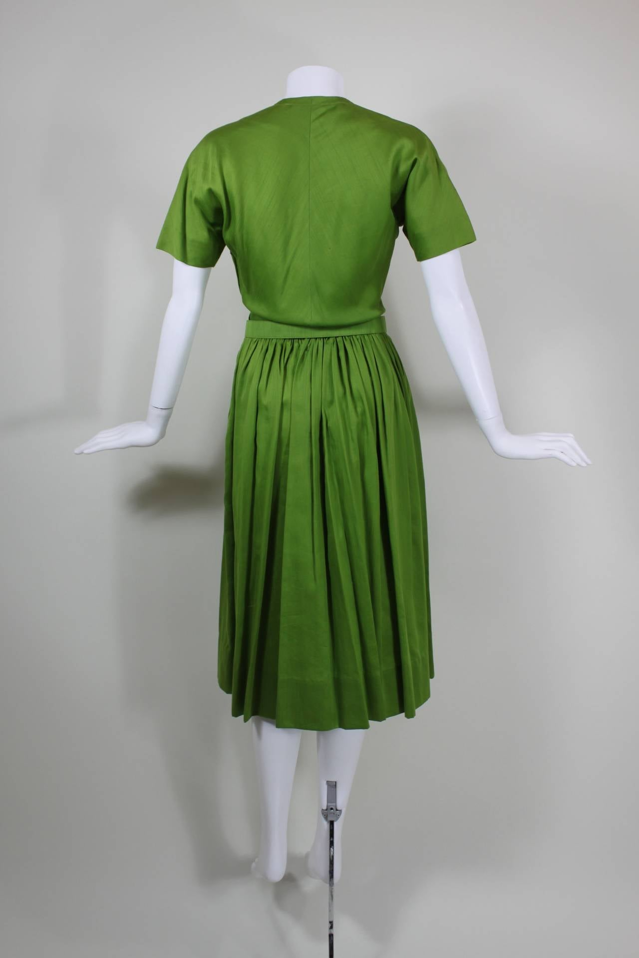 1950s Claire McCardell Lime Green Day Dress with Belt 7