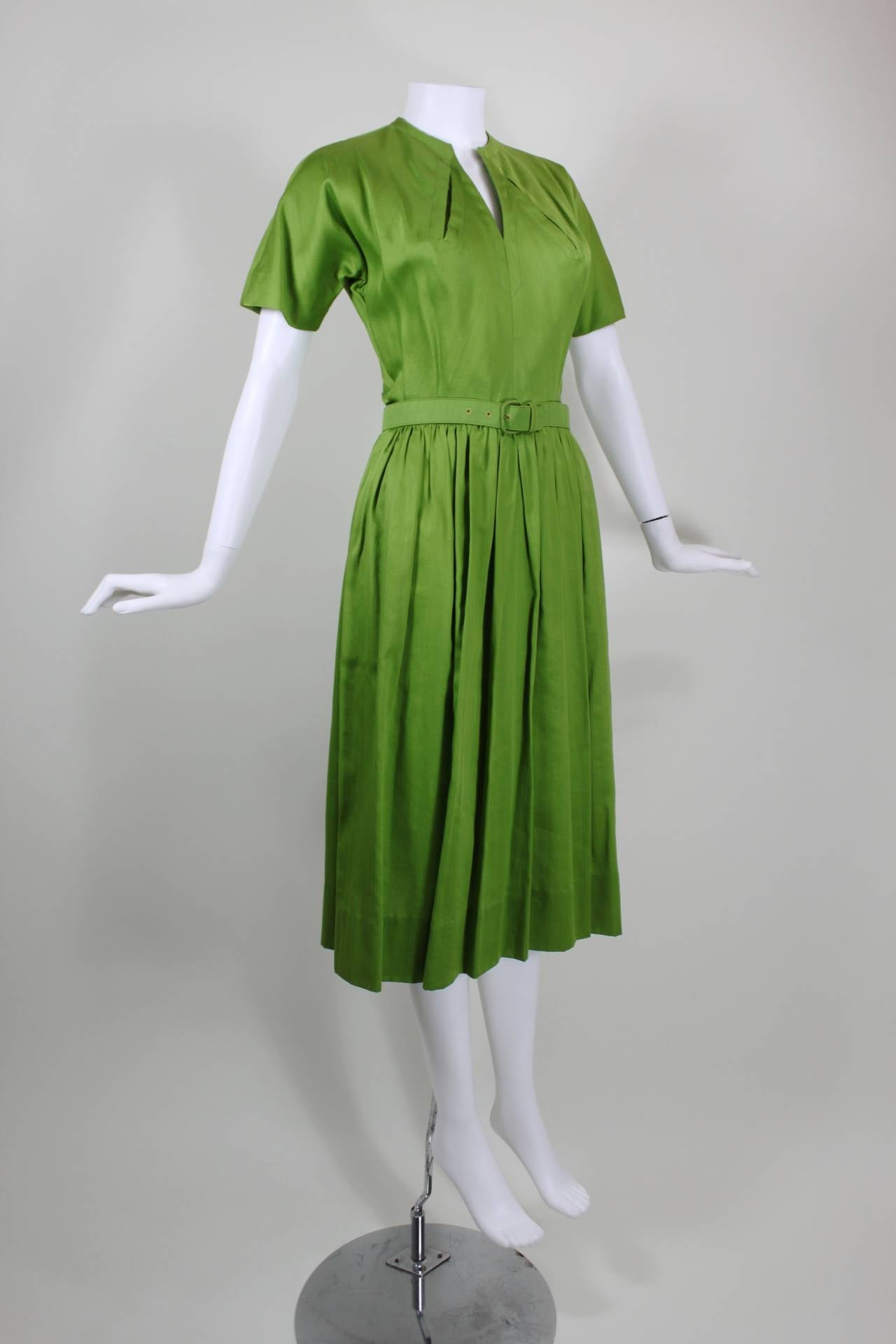 1950s Claire McCardell Lime Green Day Dress with Belt 8