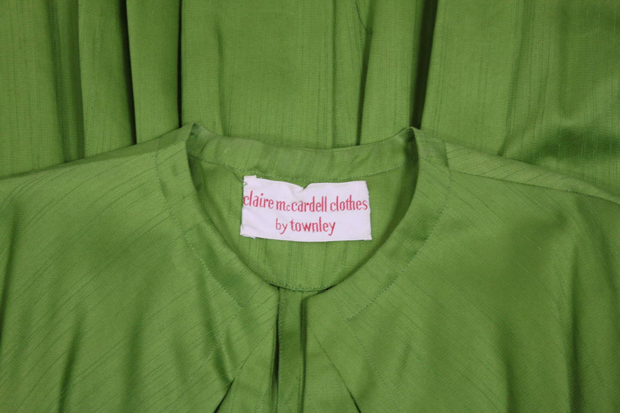 1950s Claire McCardell Lime Green Day Dress with Belt 10