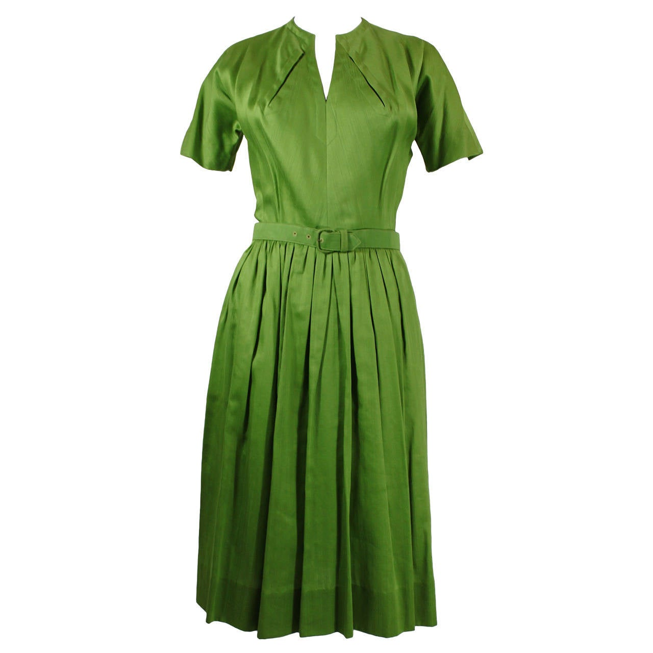 1950s Claire McCardell Lime Green Day Dress with Belt 1