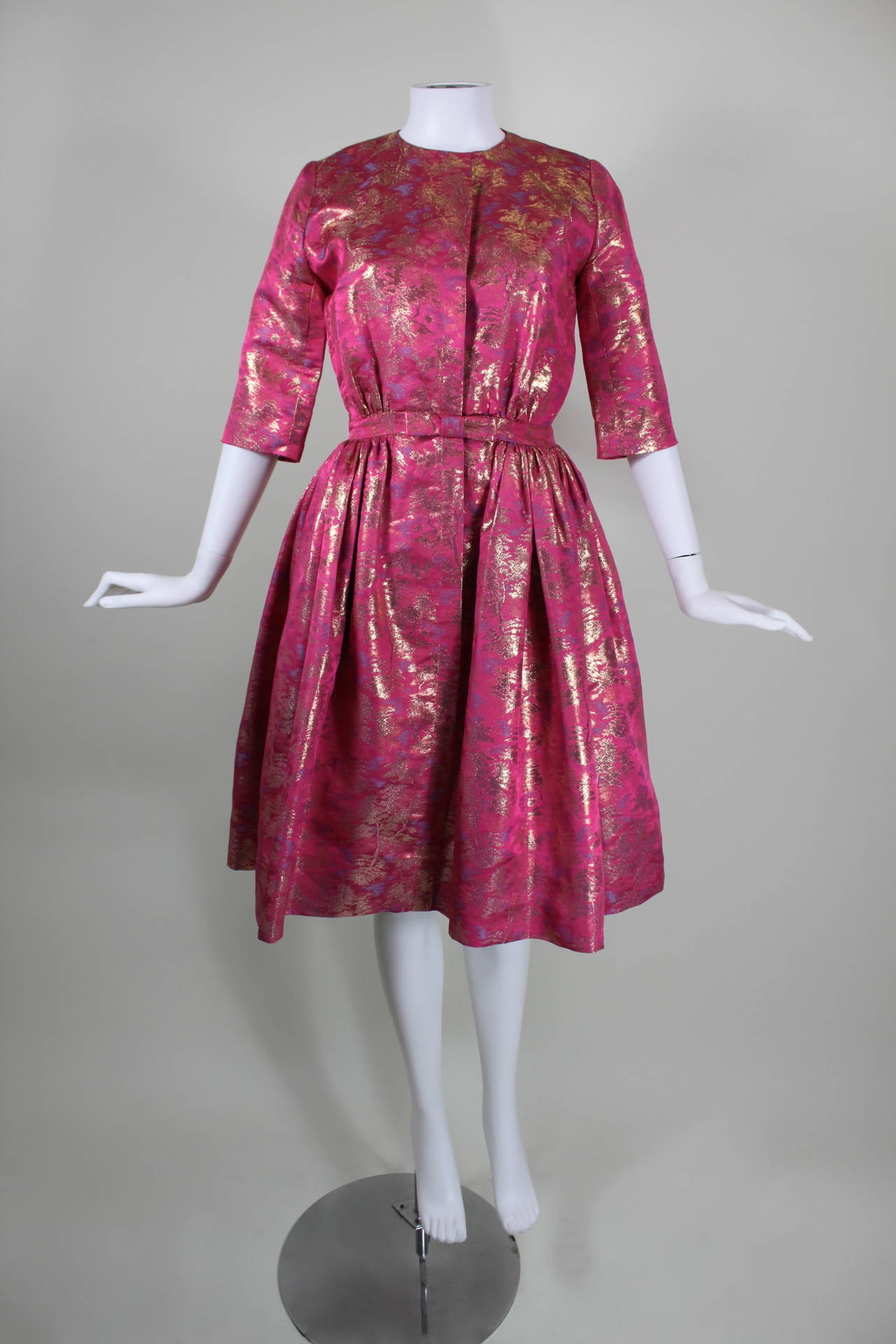 Larry Aldrich Hot Pink and Gold Tree Motif Brocade Dress 4