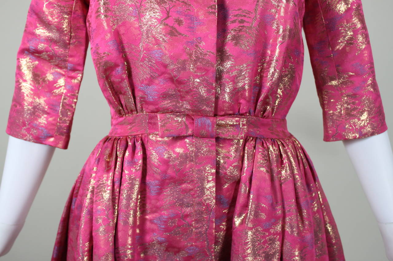 Larry Aldrich Hot Pink and Gold Tree Motif Brocade Dress 9