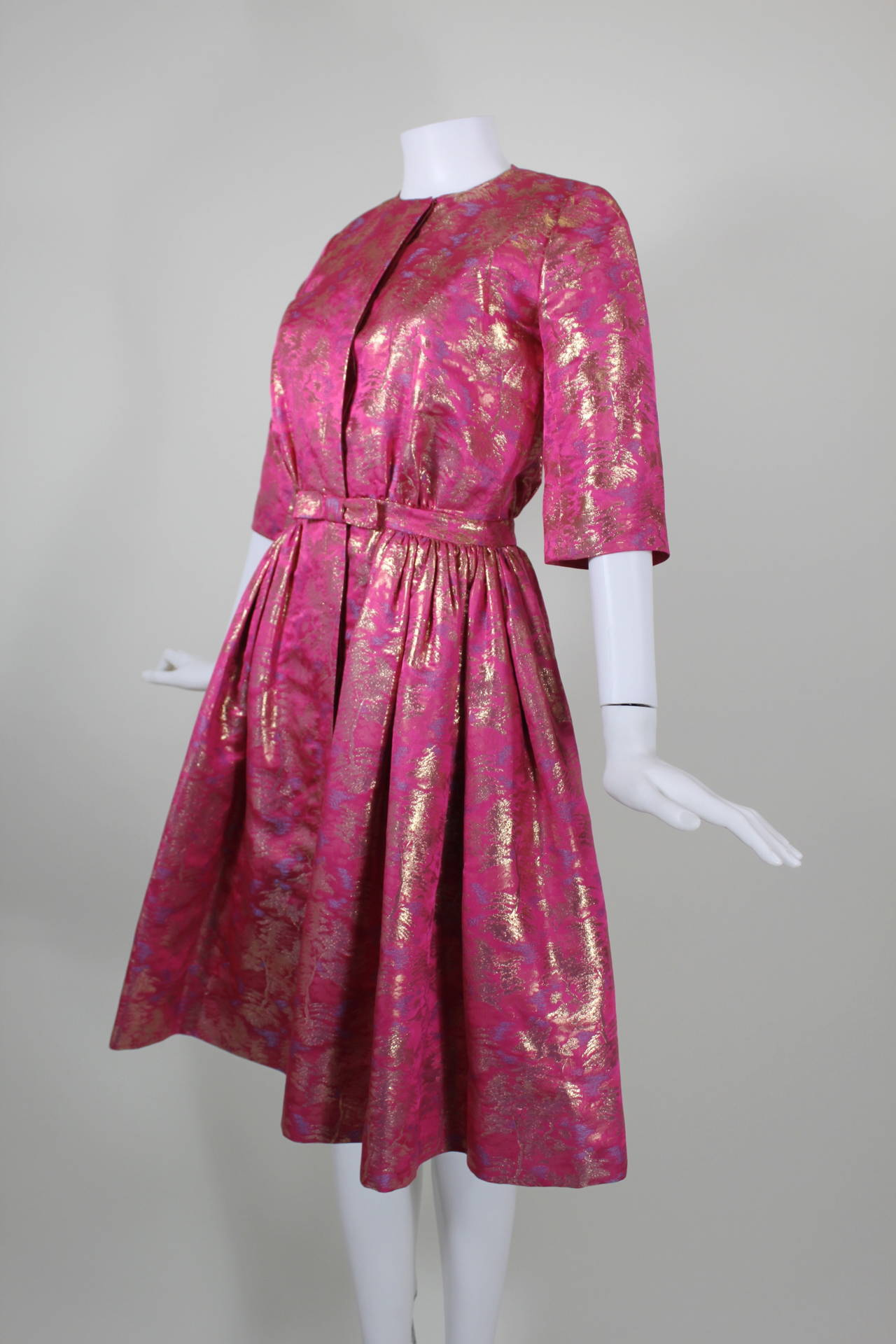 Larry Aldrich Hot Pink and Gold Tree Motif Brocade Dress 6