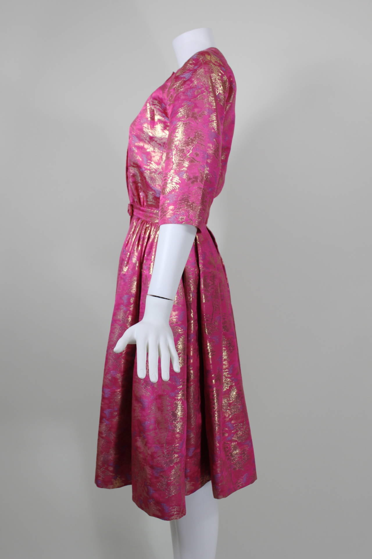 Larry Aldrich Hot Pink and Gold Tree Motif Brocade Dress 2