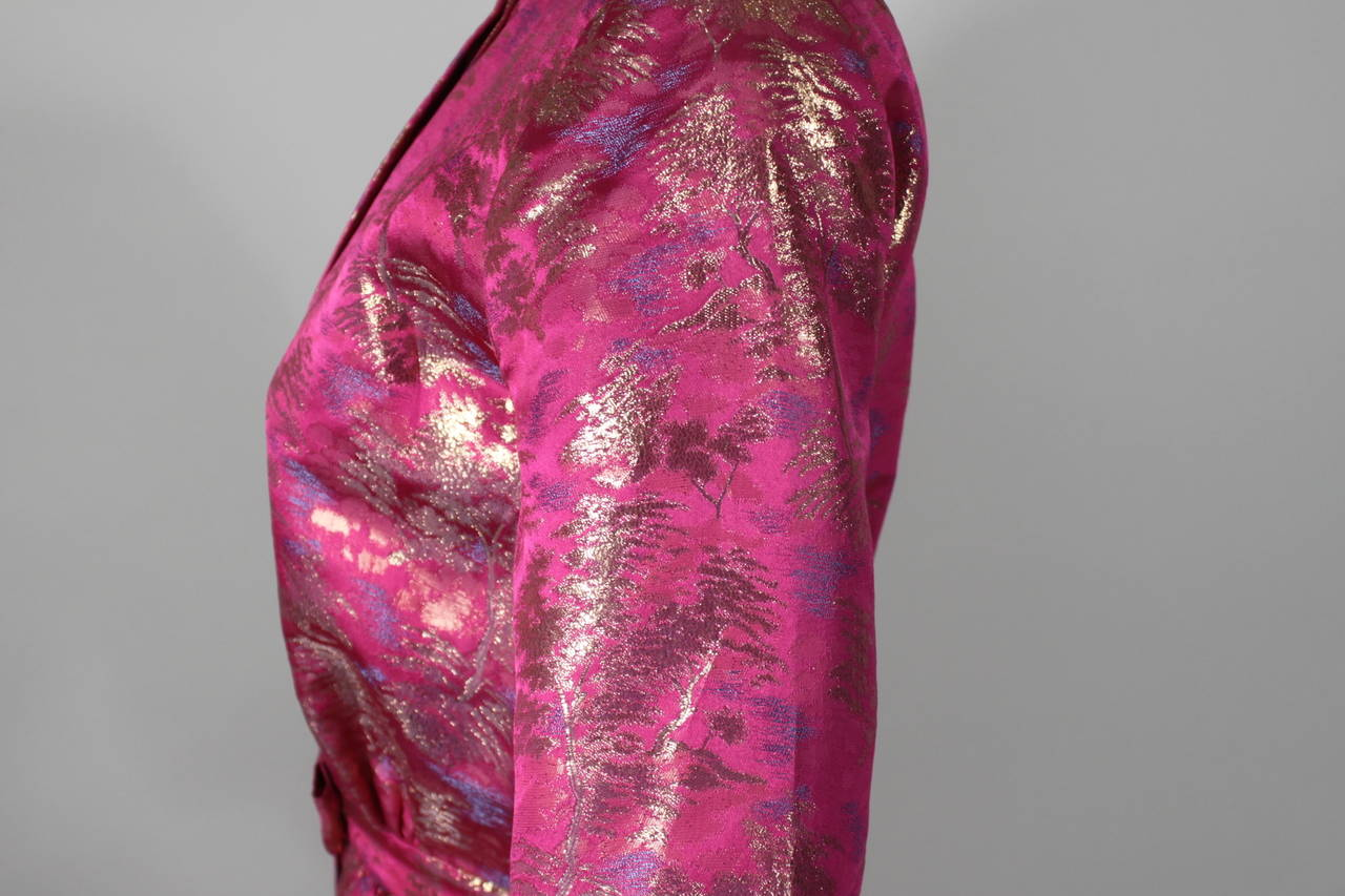 Larry Aldrich Hot Pink and Gold Tree Motif Brocade Dress 3