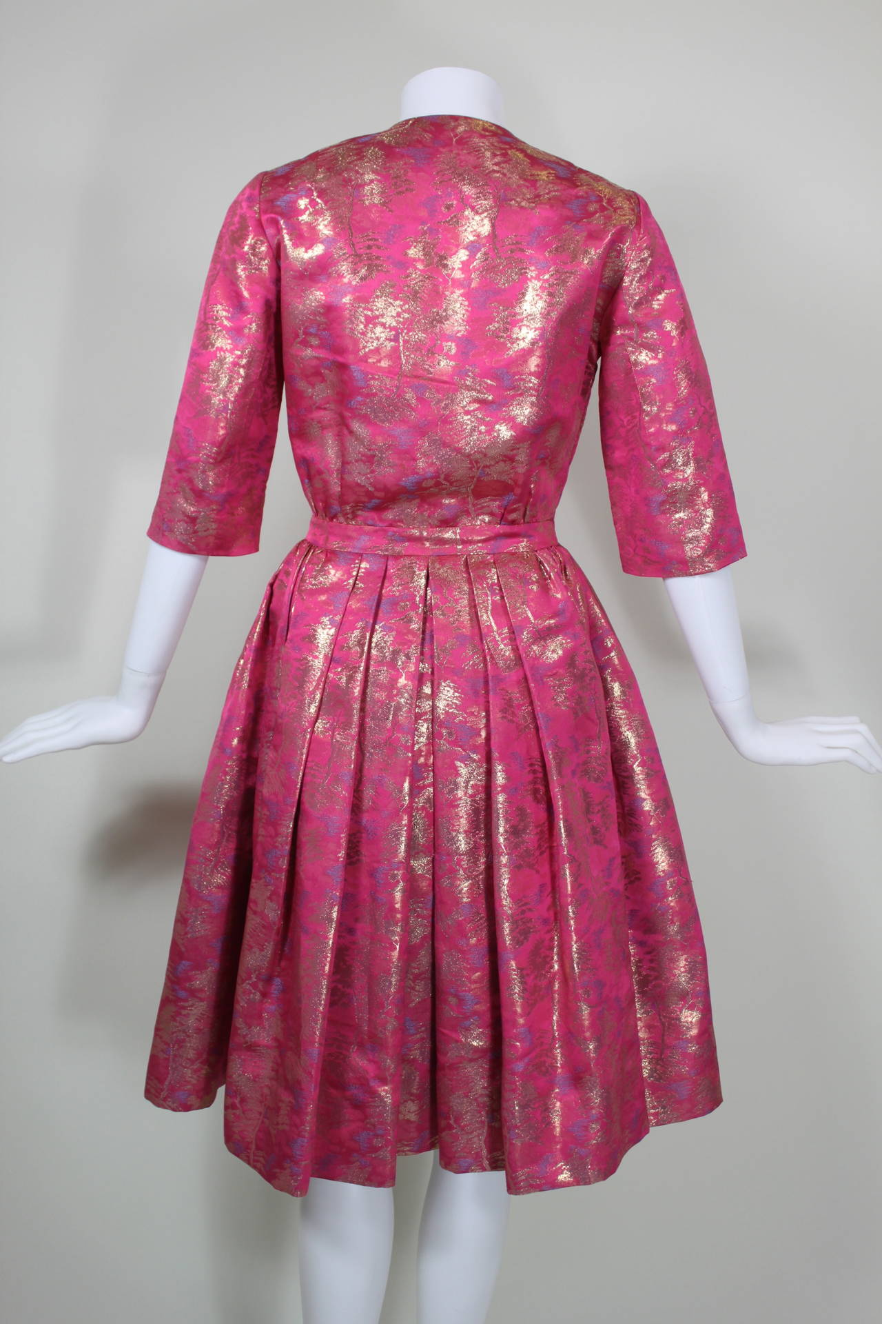Larry Aldrich Hot Pink and Gold Tree Motif Brocade Dress 7