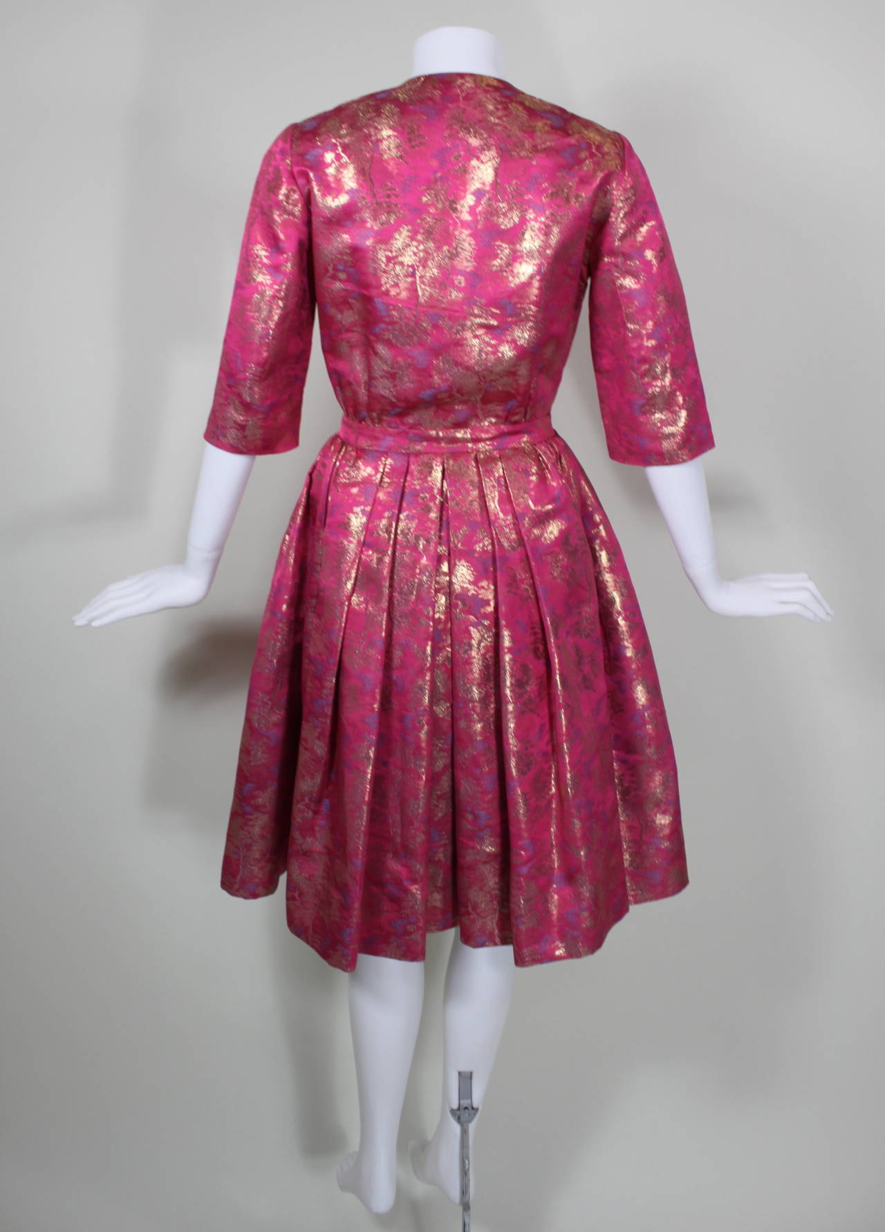 Larry Aldrich Hot Pink and Gold Tree Motif Brocade Dress 5