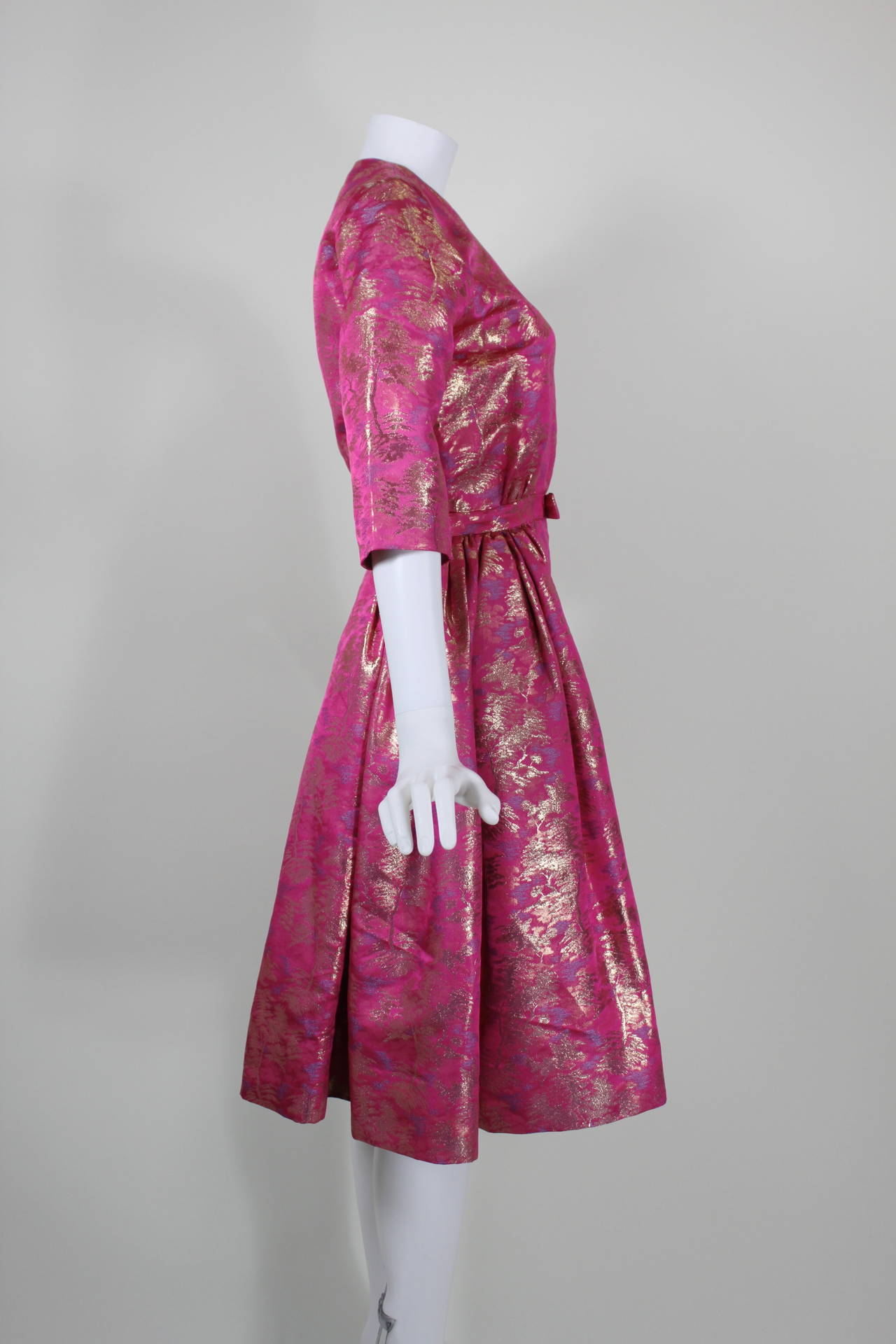 Larry Aldrich Hot Pink and Gold Tree Motif Brocade Dress 8